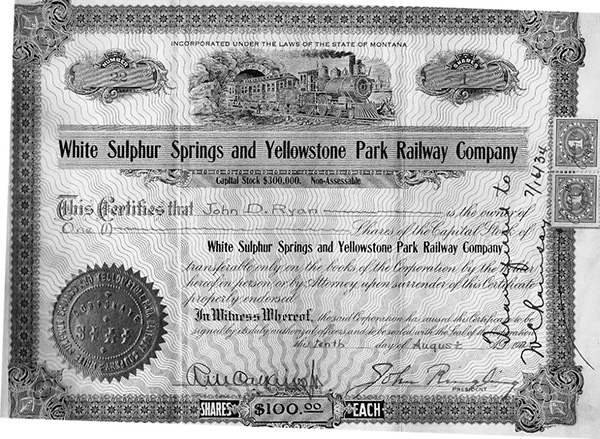 The stock certificate for John's grand railroad