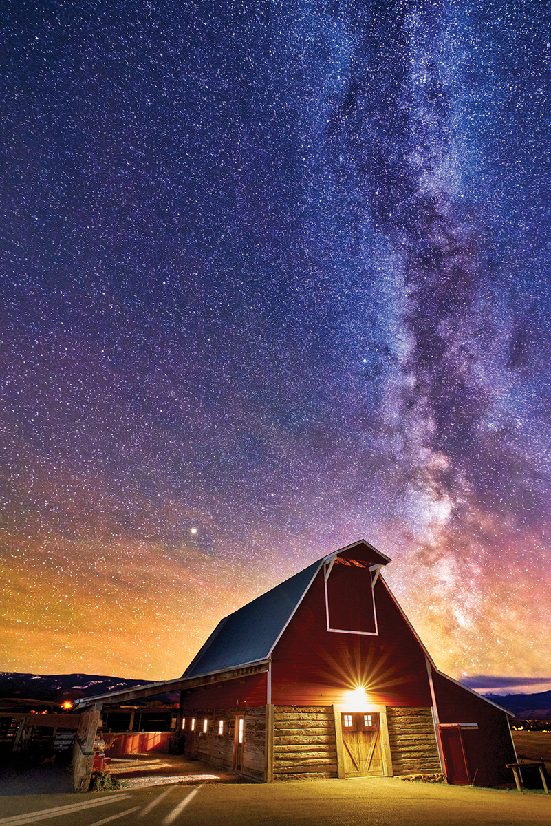 MONTANA RED BARN AND MILKY WAY