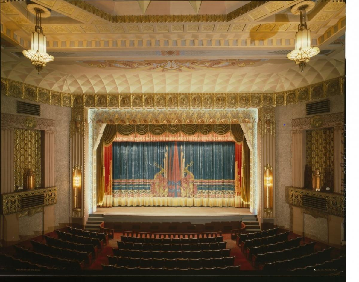 Washoe Theater silk curtain, 1979