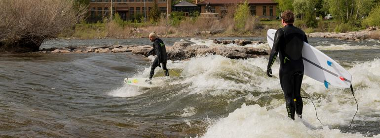 Surfing Brennan's wave in Downtown Missoula