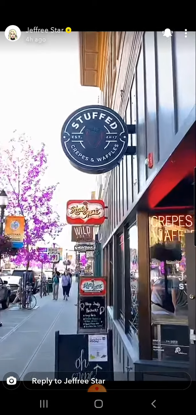 Stuffed Waffles and Crepes in Bozeman, From Jeffree Star's Snapchat