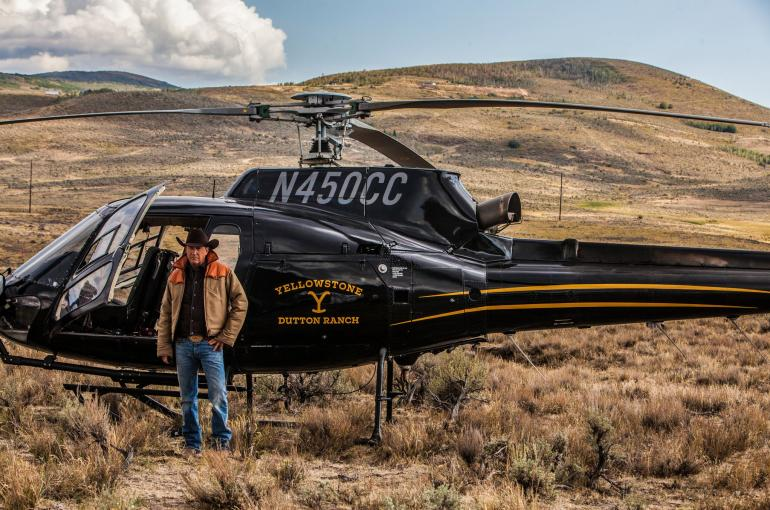 Kevin Costner filming Yellowstone in Montana. Photo courtesy of Paramount Network