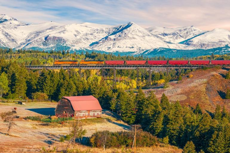 Train and autumnal scene, Montana