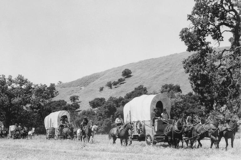 wagon train of pioneers