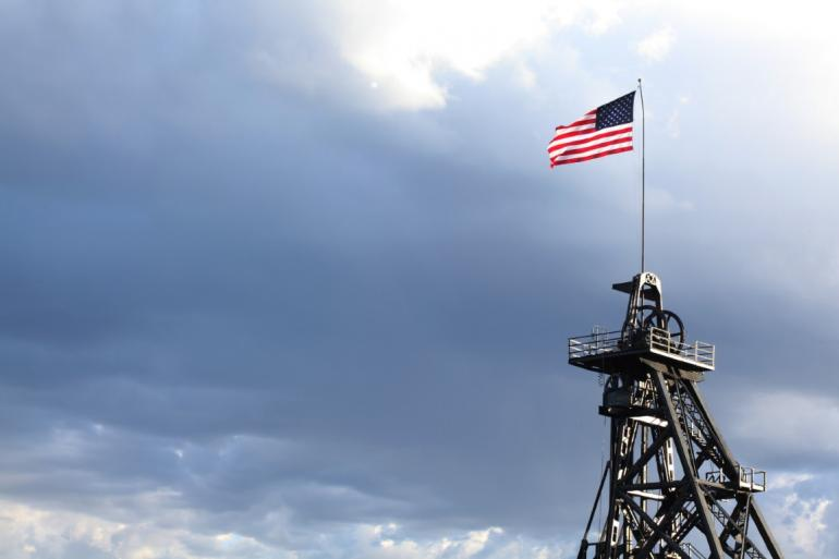 American flag on Gallows frame