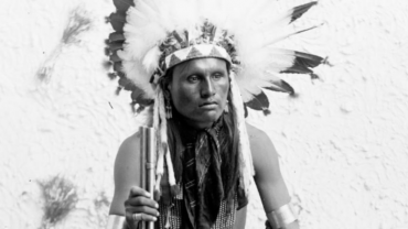 Studio portrait of Native American Cheyenne Indian Spotted Hawk