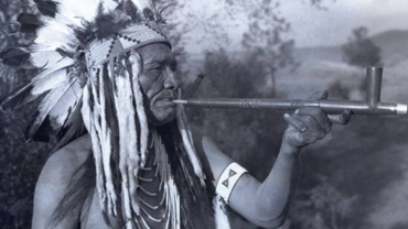 Flathead Chief Smoking Pipe in Headdress