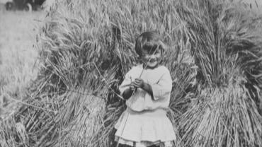 Little girl standing in a wheat field