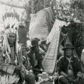 Blackfeet Men in Sun Dance Lodge