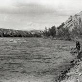 Native man fishing in the Pend d' Oreille River
