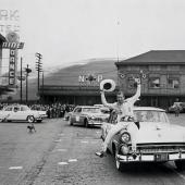 Cast of Timberjack on parade in downtown Missoula, 1954