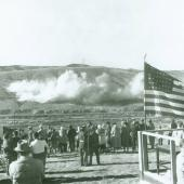First explosion at the Clark Canyon Dam