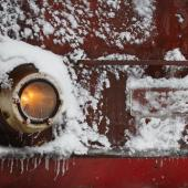 train engine in snow